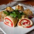 Традиционная кухня Египта. Баклажановые рулетики со сладким  печёным перцем