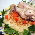 Традиционная кухня Морокко. Кускус с овощами и курицей.