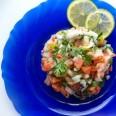 Традиционная кухня Перу. Себиче с чили и лаймом.