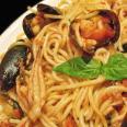 Спагетти с морепродуктами в мешочке
